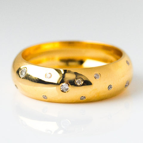 Chunky Stacking Ring with Scattered Diamonds - rings - Carrie Elizabeth Jewelry local eclectic