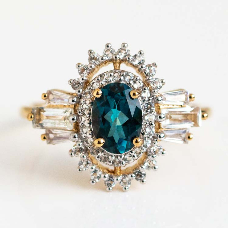 Luxe LPT and White Topaz Ring yellow gold statement vintage inspired carrie elizabeth jewelry