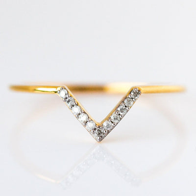 Classic Diamond V Ring - rings - Carrie Elizabeth Jewelry local eclectic