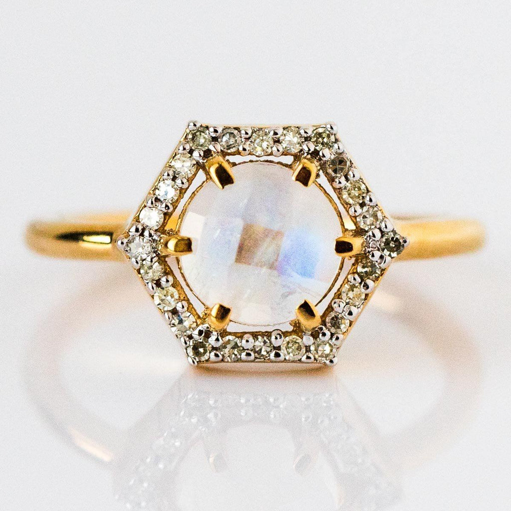 Moonstone Diamond Statement Ring
