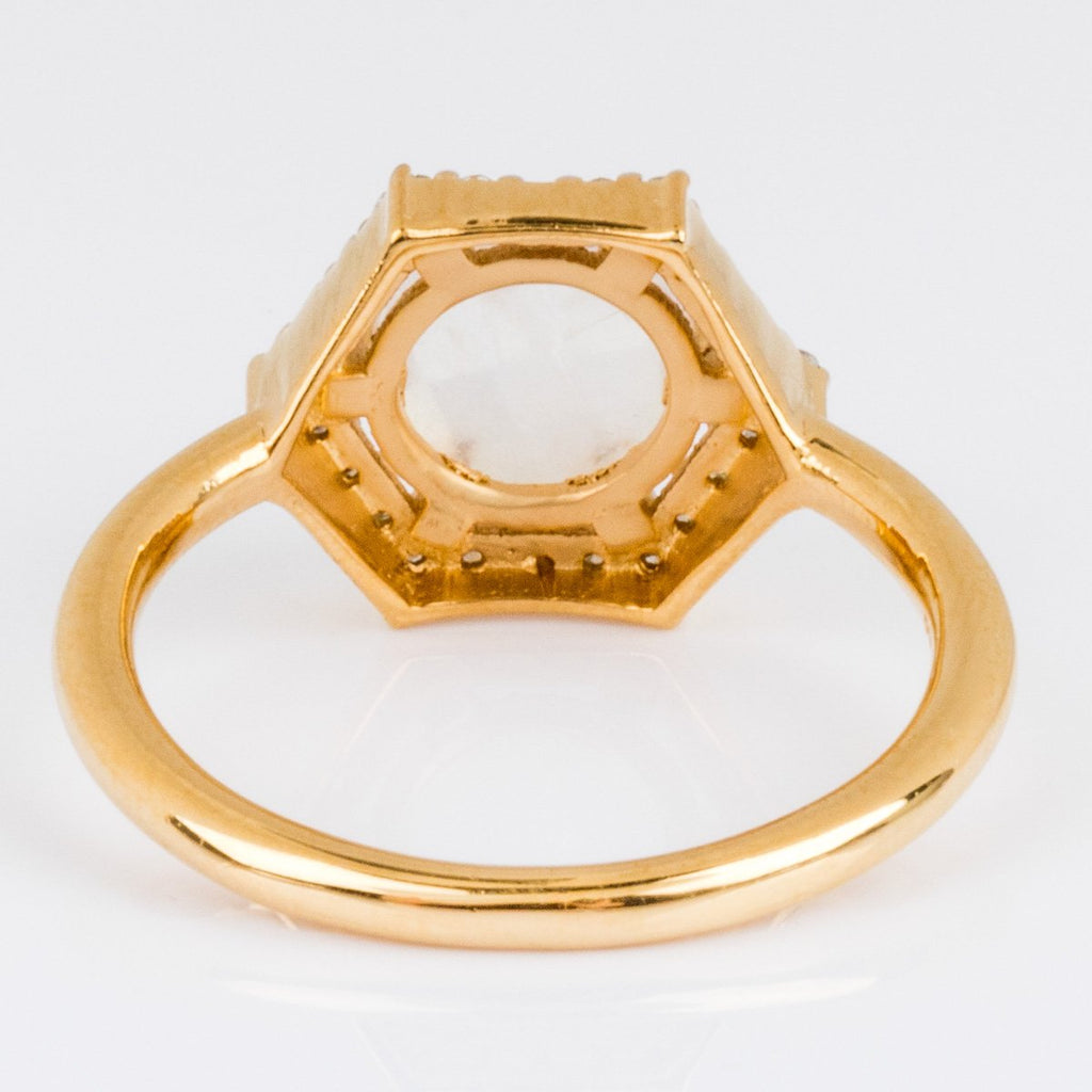 Moonstone Diamond Gold Statement Ring
