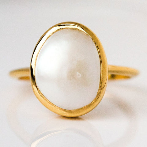Gold Semi Precious Pearl Ring
