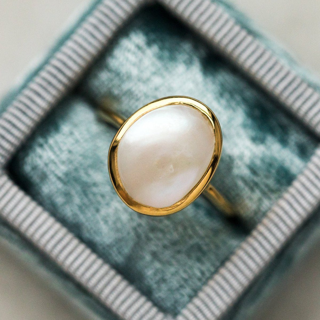 Simple Pearl Ring Carrie Elizabeth Jewelry Gold Statement Ring