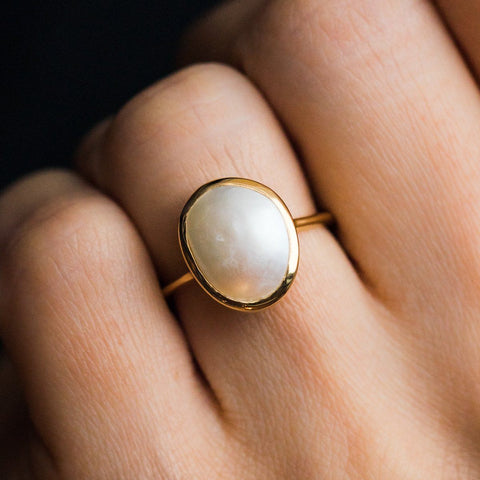 14K Gold Vermeil Pearl Statement Ring