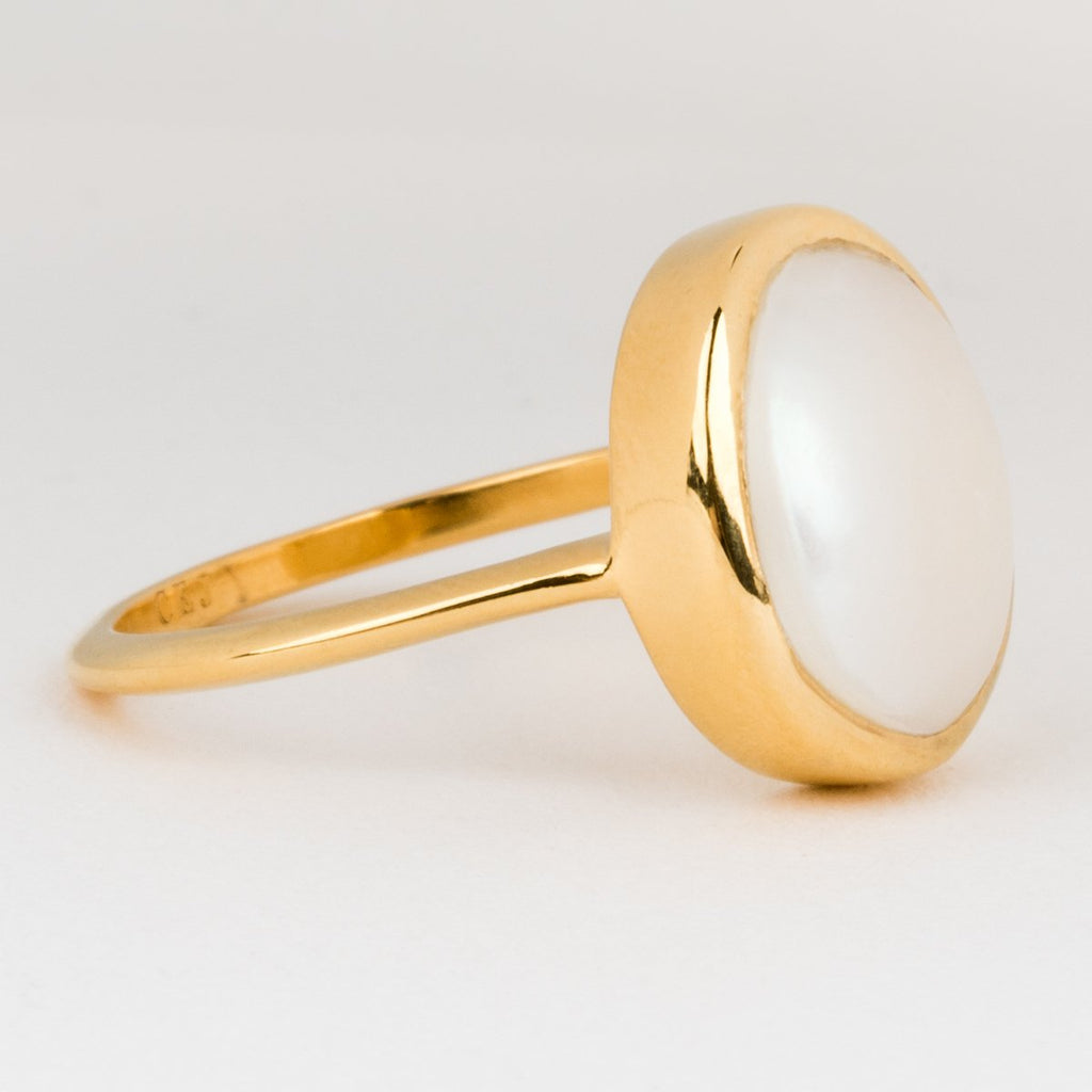 14K Gold Vermeil Pearl Statement Ring Carrie Elizabeth Jewelry