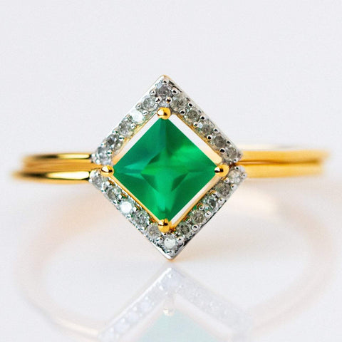 2x Stacking Ring Set Green Onyx with Diamond