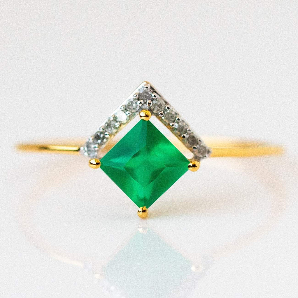 green onyx statement stacking ring from local eclectic