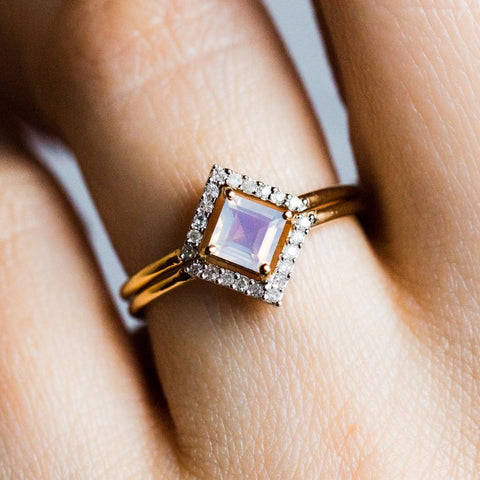2x Stacking Ring Set Lilac Quartz with Diamond - rings - Carrie Elizabeth Jewelry local eclectic