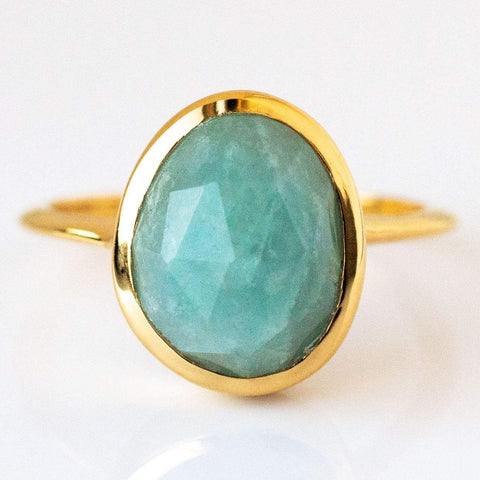 Semi Precious Aquamarine Ring