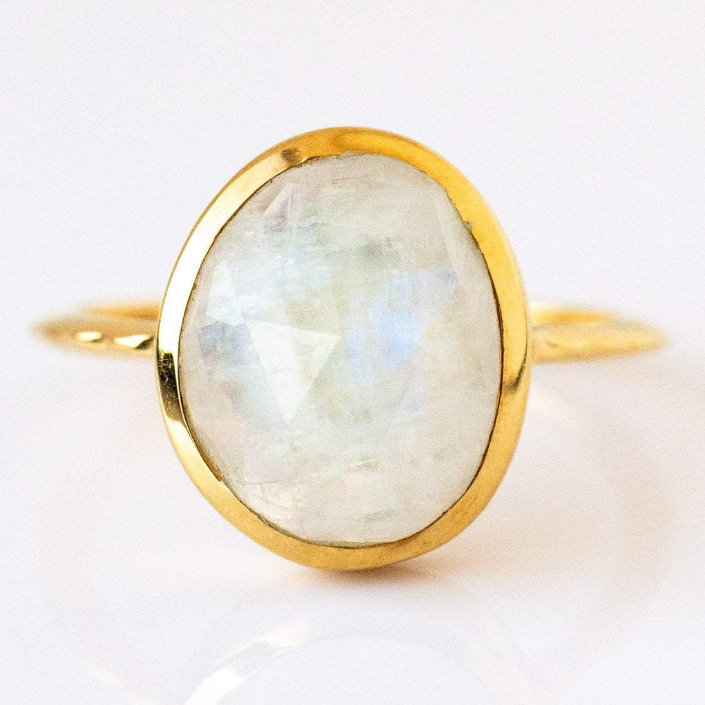 14K Gold Vermeil Bezel Moonstone Cocktail Ring