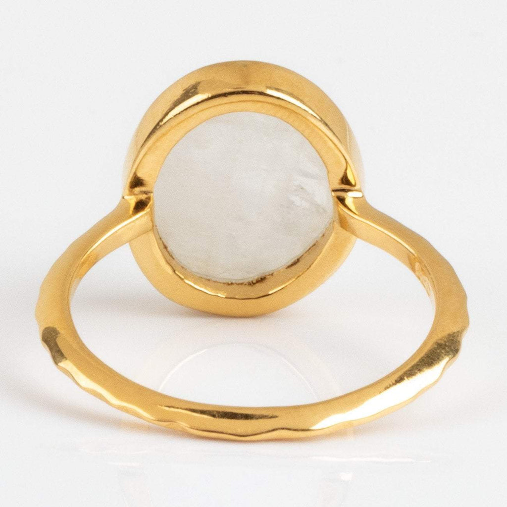Simple Moonstone Gold Statement Ring