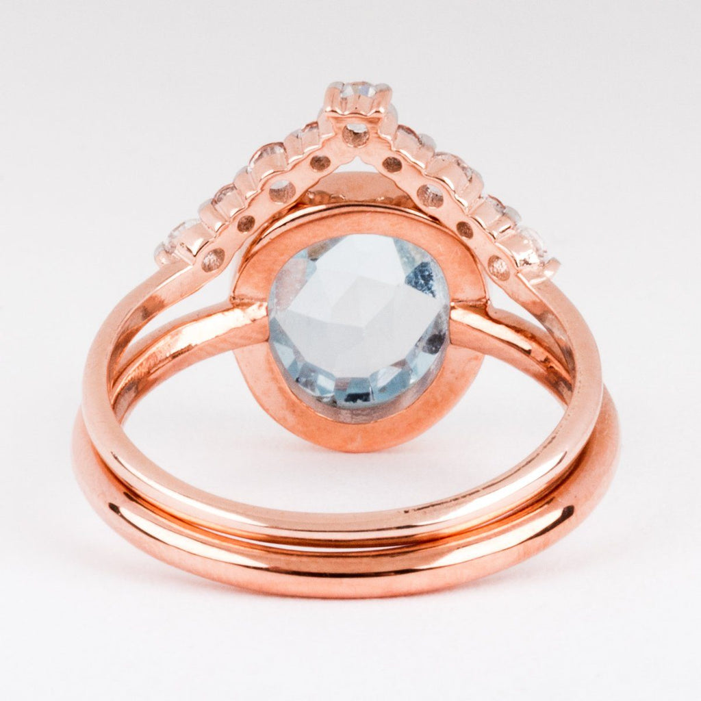 Light Blue Topaz Rose Gold Stacking Set - rings - Carrie Elizabeth Jewelry local eclectic
