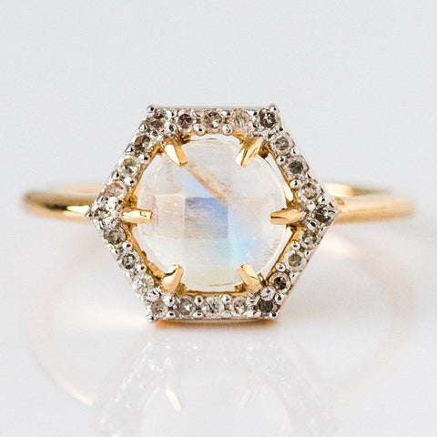 Solid Gold Moonstone & Diamond Hexagon Ring - rings - Carrie Elizabeth Jewelry local eclectic