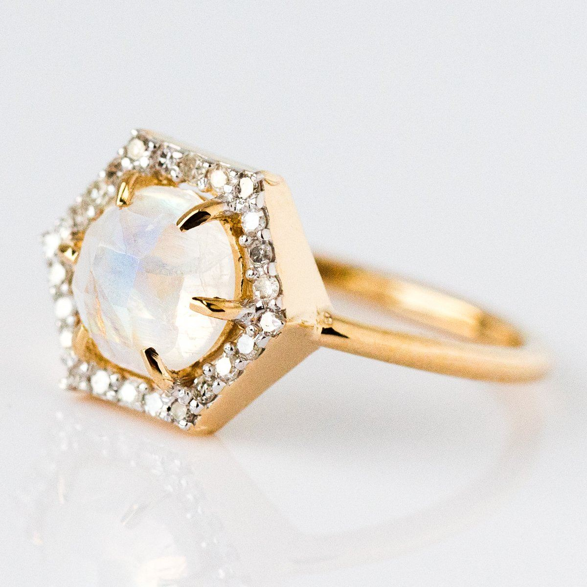 Local Eclectic Solid Gold Moonstone Amp Diamond Hexagon Ring