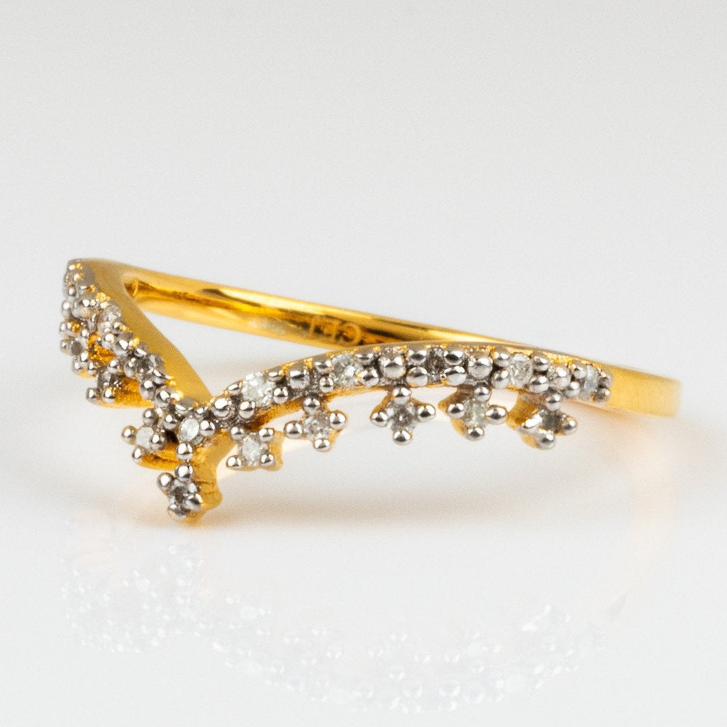 Vintage Diamond Stacking Ring 14k Gold Vermeil