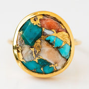 Statement Oyster Turquoise Ring unique stone yellow gold jewelry