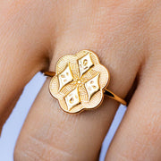 Gold Vintage Crest Ring - Vintage Inspired Ring - Carrie Elizabeth Jewelry - Local Eclectic