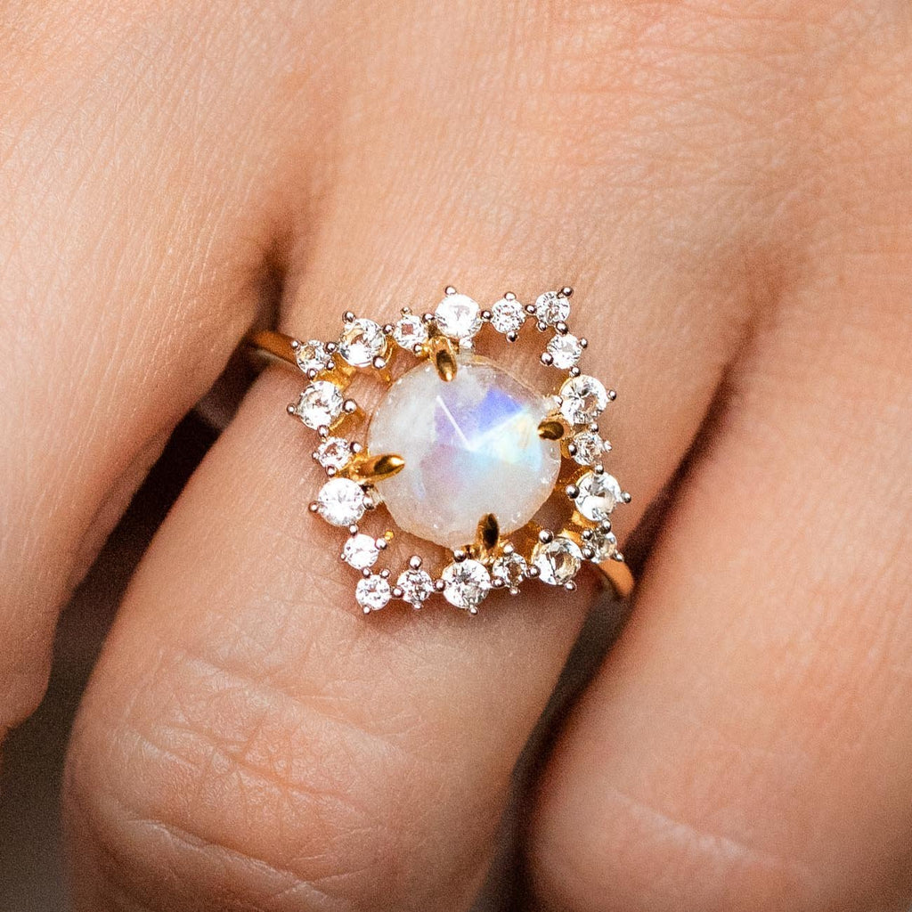 Rose Cut Rainbow Moonstone Topaz Statement Ring
