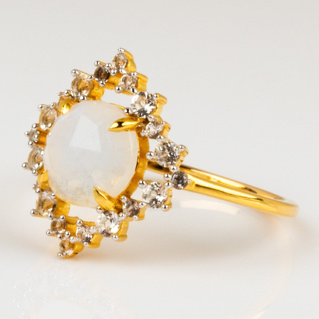 Rainbow Moonstone Statement Ring Topaz Carrie Elizabeth Jewelry