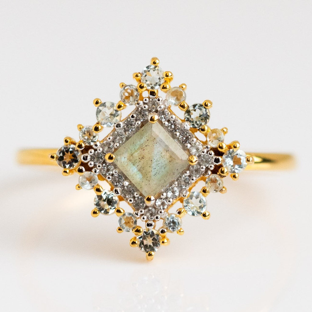 Labradorite Baby Blue Topaz 14k Gold Vermeil Statement Ring