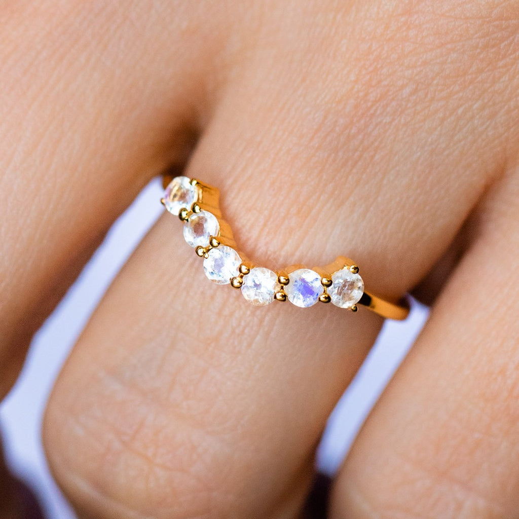 Gold Moonstone Hugging Ring - Stacking Moonstone Ring - Carrie Elizabeth Jewelry - Local Eclectic
