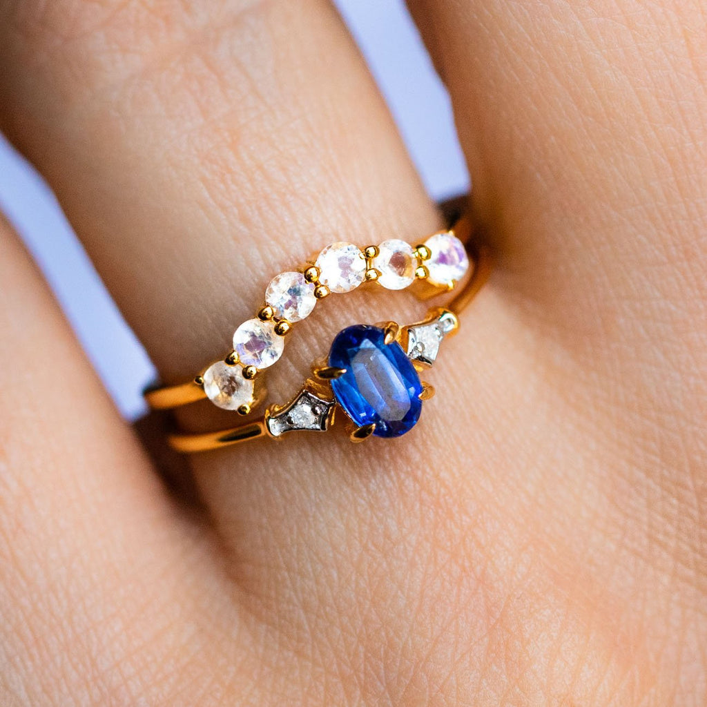 Kyanite Diamond and Moonstone Stacking Ring Set