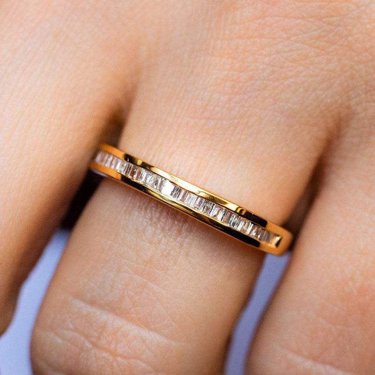 Gold Baguette Eternity Diamond Band Ring - Carrie Elizabeth - Local Eclectic