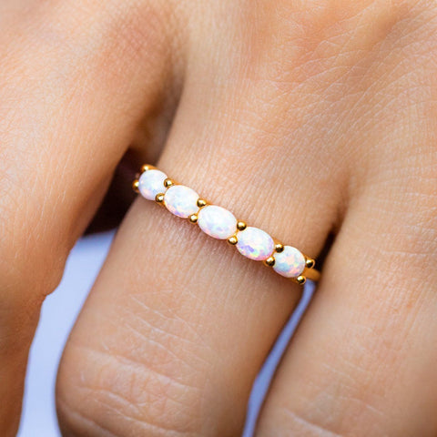 White Opal Ring Carrie Elizabeth