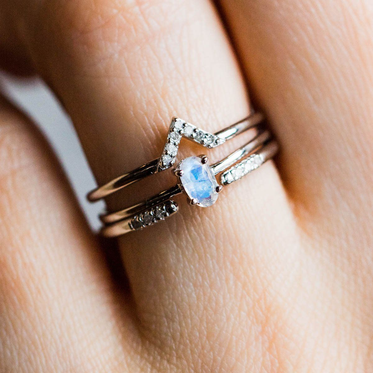 9e7c3380536d2f Diamond & Moonstone Stacking Ring Set in Silver - rings - Carrie Elizabeth  Jewelry local eclectic