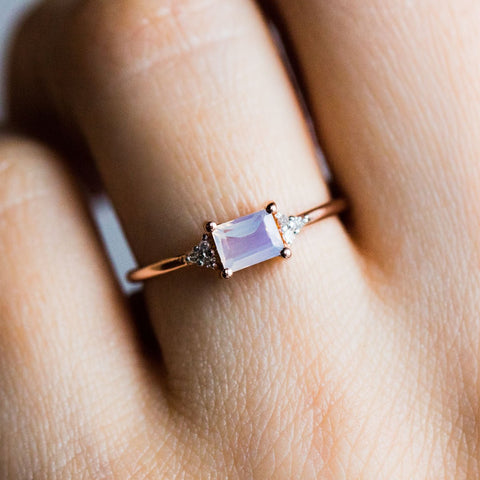 Baguette Trio Diamond Ring with Lilac Quartz - rings - Carrie Elizabeth Jewelry local eclectic