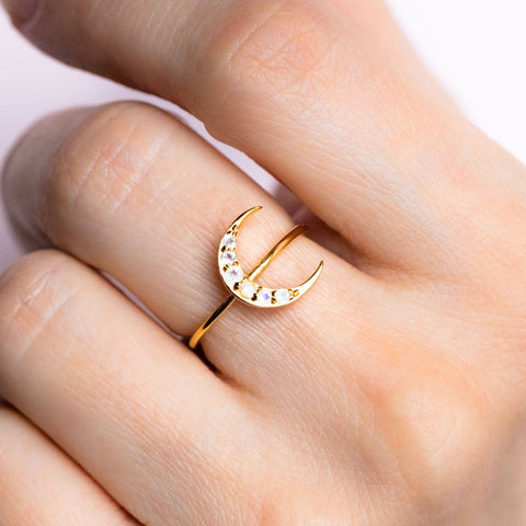 Crescent Moon Ring with Moonstone