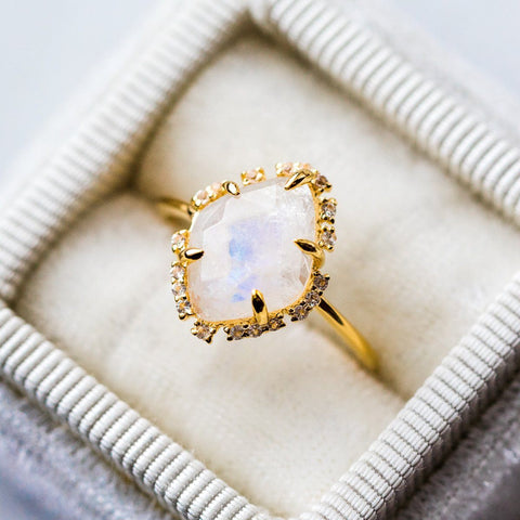 Moonstone White Topaz Gold Ring
