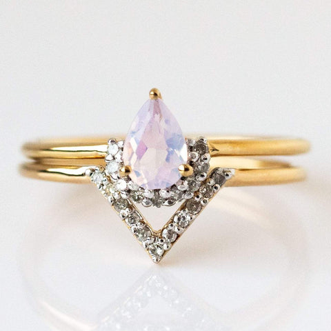 Lilac Quartz & Diamond Angel Stacking Ring Set