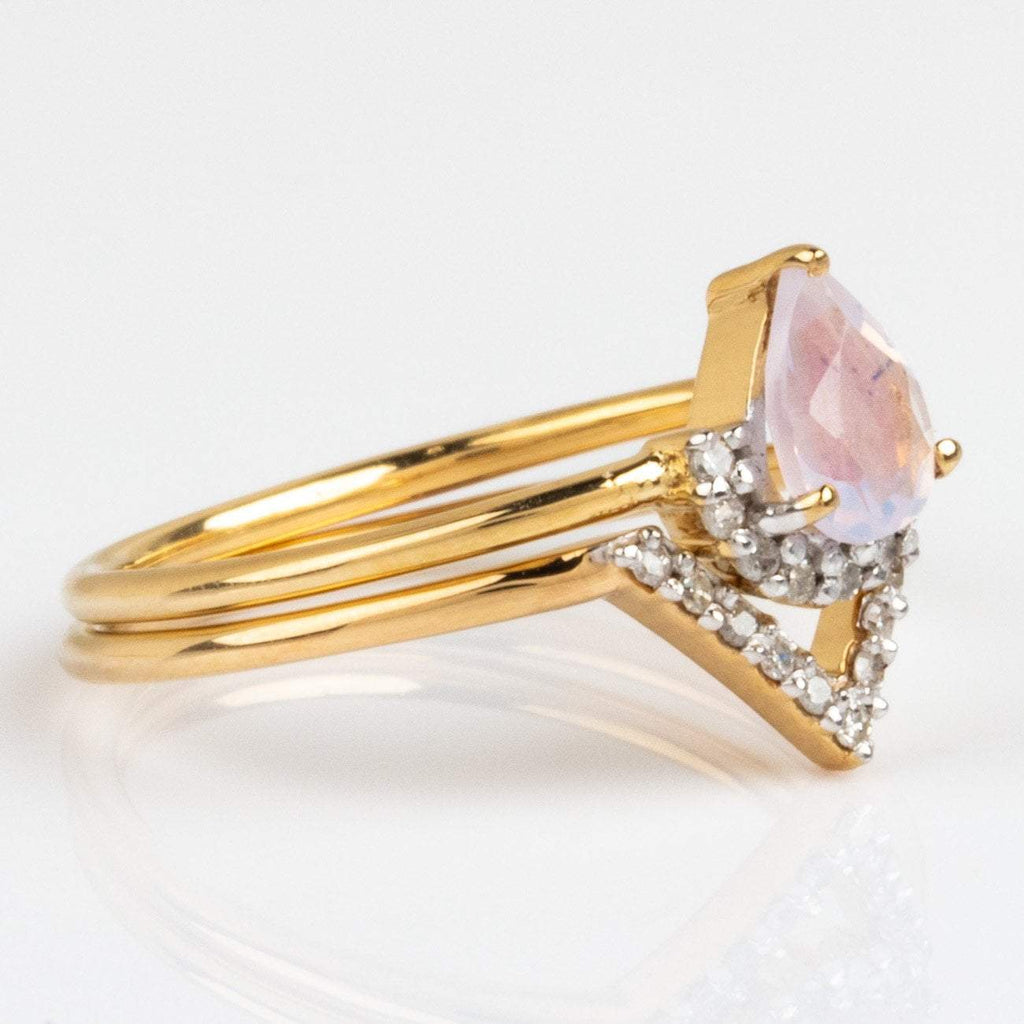 ring set lilac quartz diamond ring set yellow gold