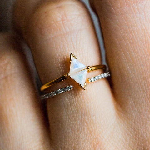 Luminosity Stacking Ring Set with Moonstones & Diamonds - rings - Carrie Elizabeth Jewelry local eclectic