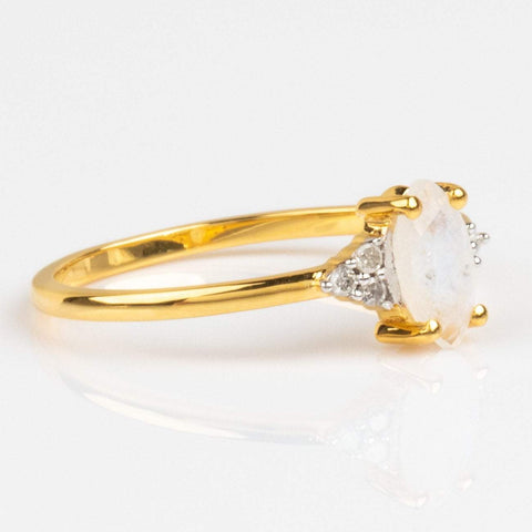 Marquise Moonstone and Trio Diamond Ring