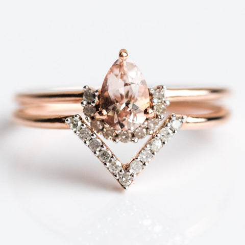 Rose Gold Pink Morganite & Diamond Angel Stacking Ring Set - rings - Carrie Elizabeth Jewelry local eclectic