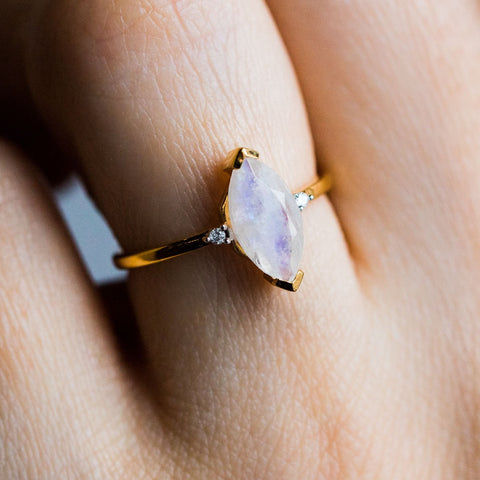 Simple Marquise Moonstone & Diamond Ring - rings - Carrie Elizabeth Jewelry local eclectic