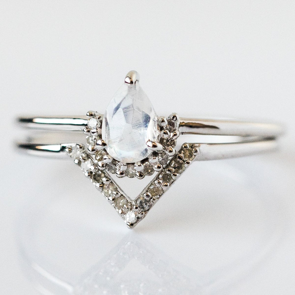 Moonstone & Diamond Angel Stacking Ring Set in Silver - rings - Carrie Elizabeth Jewelry local eclectic