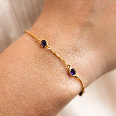iolite stone slide bracelet yellow gold minimal jewelry