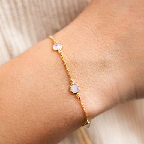 moonstone stone slide bracelet yellow gold modern jewelry