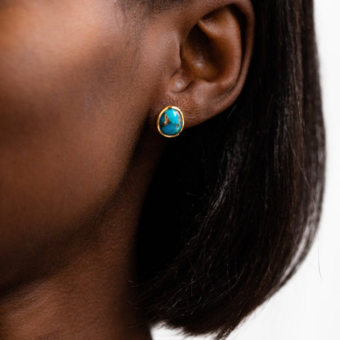 Mohave Turquoise Stone Statement Stud Earring Carrie Elizabeth