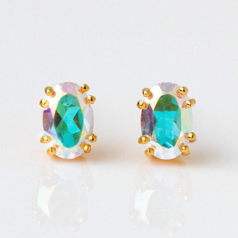 mystic topaz stud earrings yellow gold unique statement jewelry