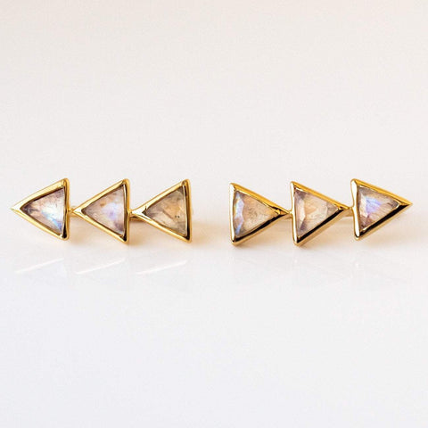 Moonstone Triangle Ear Sliders
