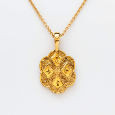 Gold Vintage Crest Pendant Necklace