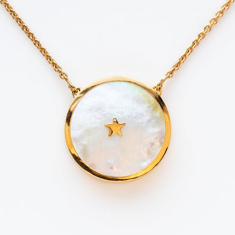 Mother of Pearl Yellow Gold Pendant Necklace Star Carrie Elizabeth
