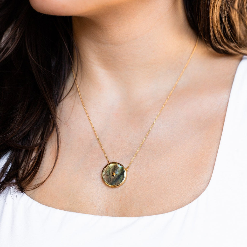 Labradorite Yellow Gold Pendant Necklace Iridescent Stone Celestial
