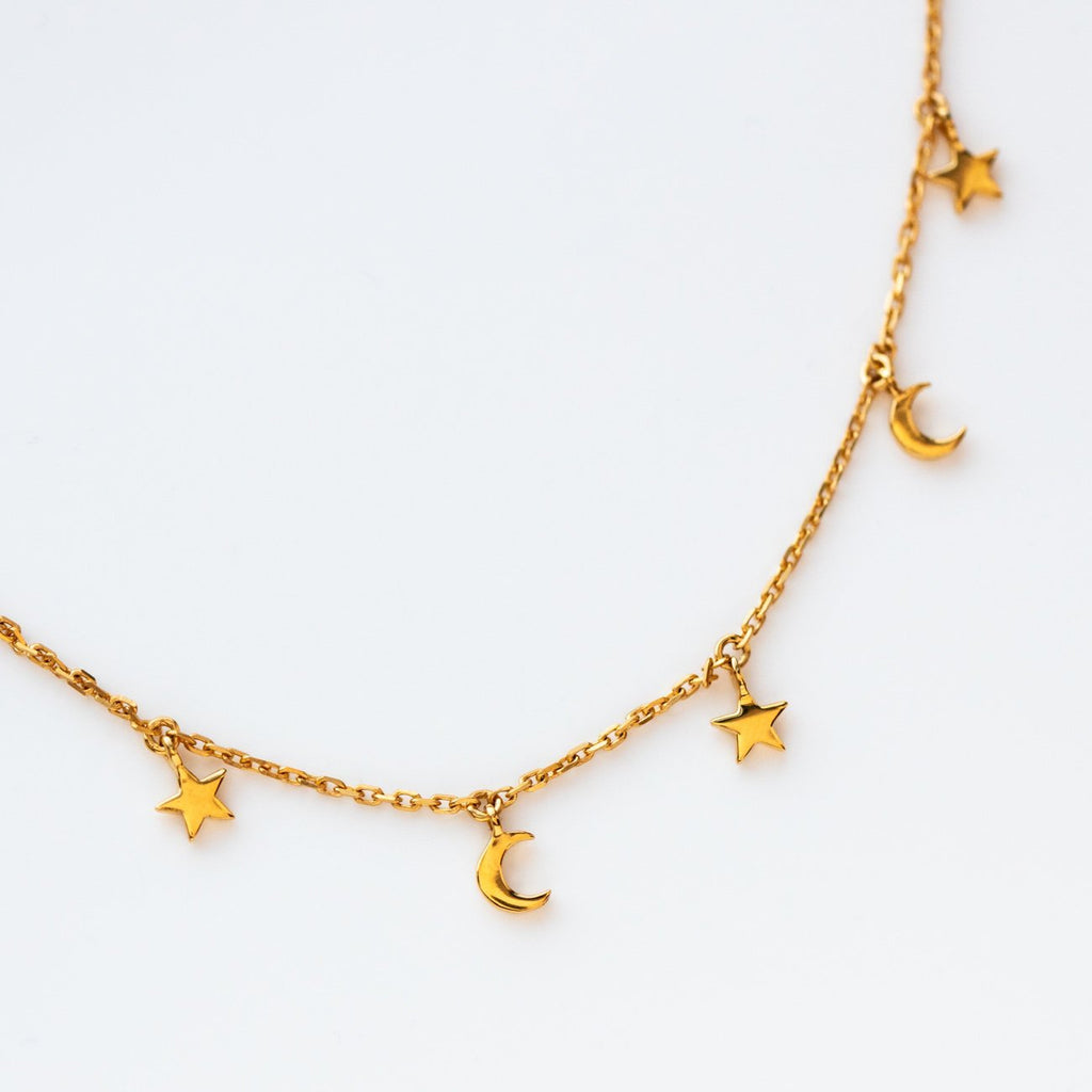 Mini Hanging Moon and Star Charm Necklace Yellow Gold Carrie Elizabeth Celestial Jewelry