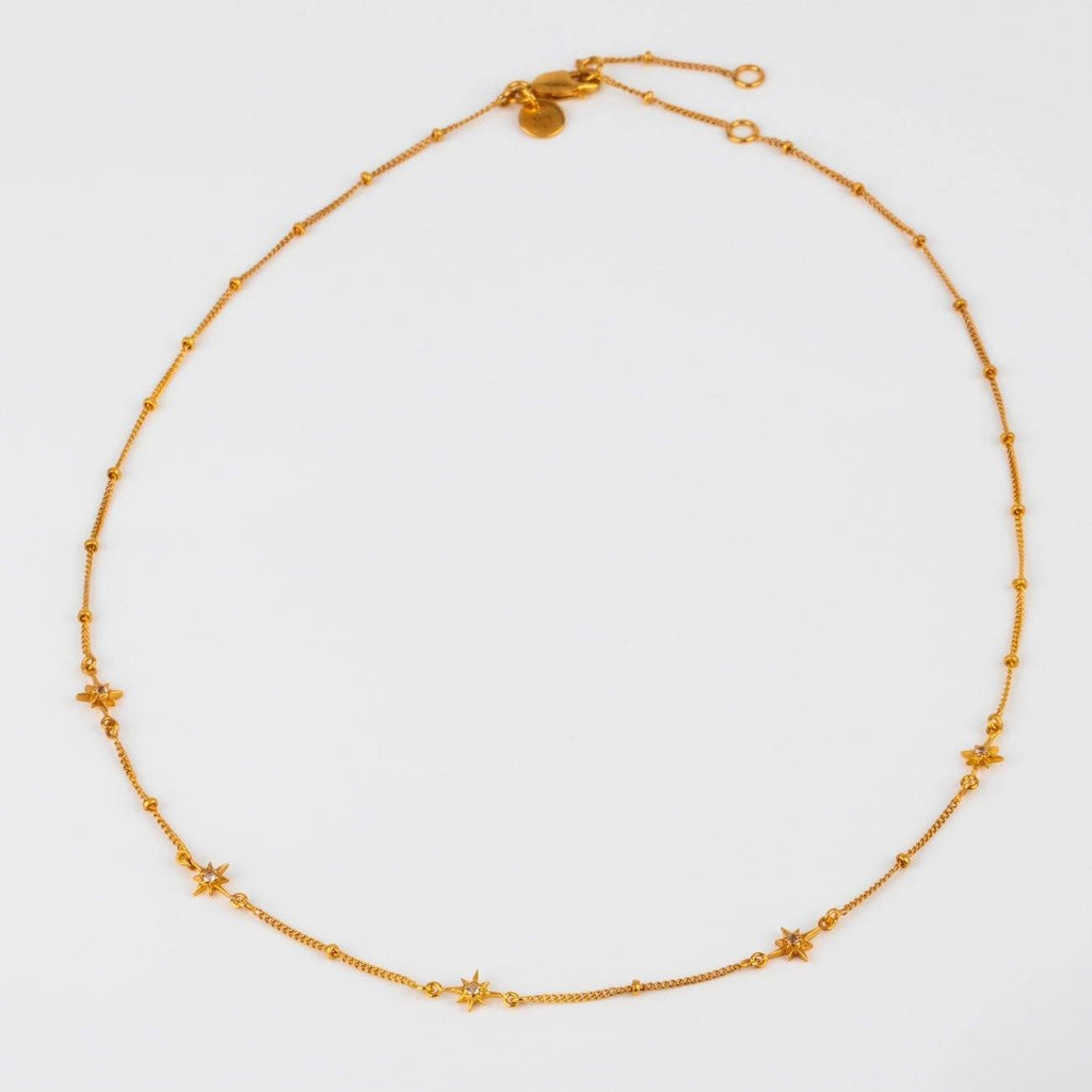 Dainty Star Chain White Topaz Necklace Carrie Elizabeth Yellow Gold