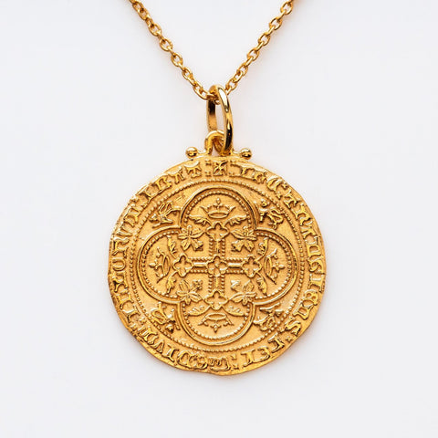 Coin Pendant Necklace Yellow Gold Intricate Jewelry Carrie Elizabeth
